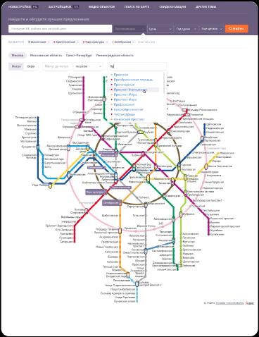 Поиск по карте метро